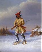 Indian Trapper with Red Feathered Cap in Winter